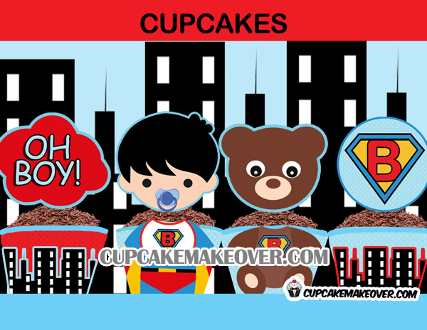 cute baby boy super hero cupcake toppers wrappers