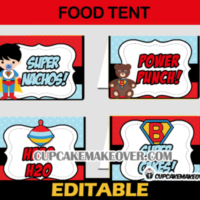 baby boy super hero editable food labels tent cards