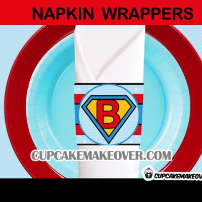 baby boy super hero napkin rings