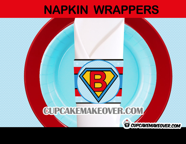 baby boy super hero napkin rings