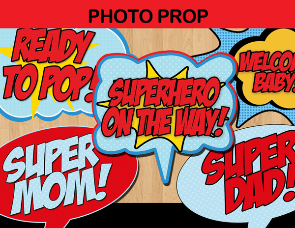 super hero baby boy photo props comic bubbles super mom dad