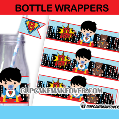 super hero baby shower bottle labels