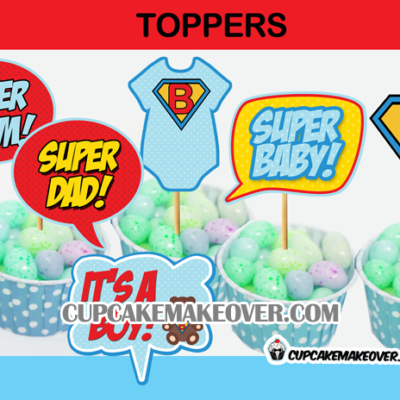 comic super hero baby shower boy toppers