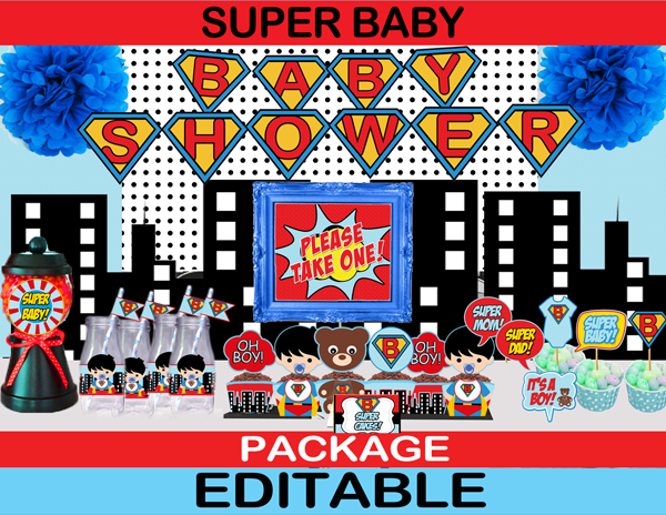 Superhero Baby Shower Package Instant Download Cupcakemakeover