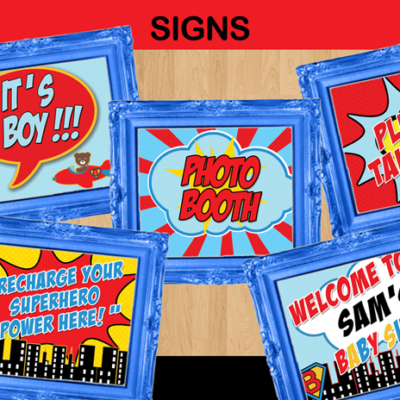 super baby shower boy party signs