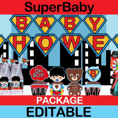 cute pop art superhero baby shower party package
