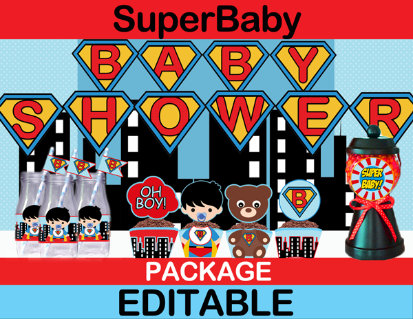 cute pop art superhero baby shower party package