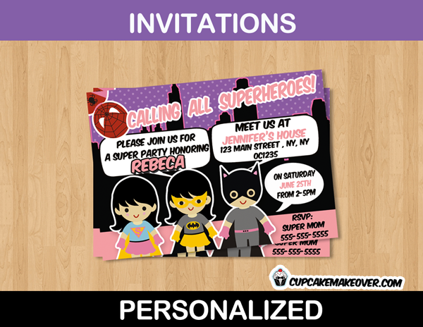 Printable Birthday Super Hero Girls Custom Invitation Card