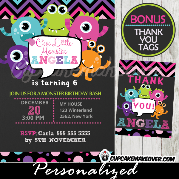 printable little monsters birthday invitations thank you cards