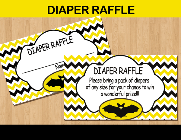 baby bat diaper raffle cards thank you tickets