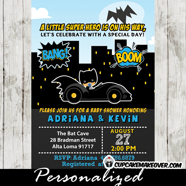 Batman Baby Shower Invitations, Little Superhero