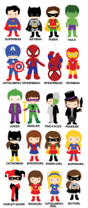 super hero characters mix and match birthday invitations