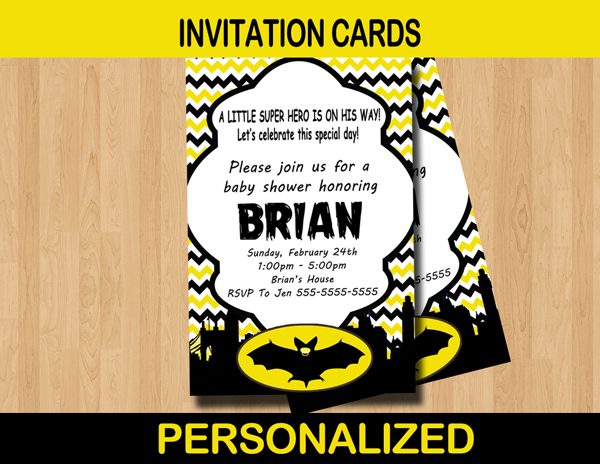 bat baby shower invitation card