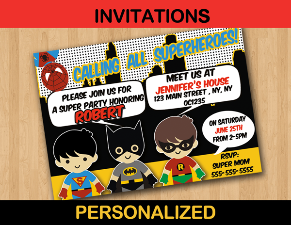 Super Hero Boys Superman Batman Invitation Cards Personalized Cute Unique