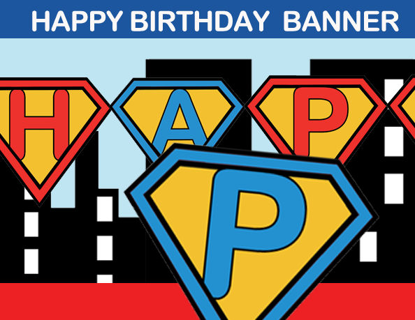 Superhero-Kids-birthday banner