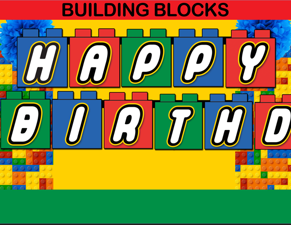 image relating to Lego Birthday Card Printable called Coming up with Blocks Satisfied Birthday Banner - Fast Down load