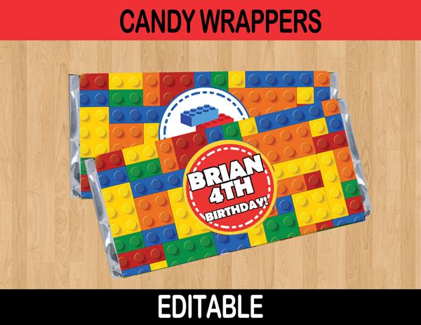 lego editable candy bar labels