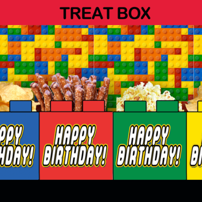 lego birthday party favors popcorn box