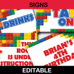 printable editable lego party signs