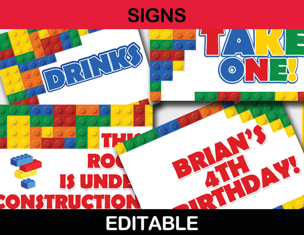 Building Blocks Birthday Party Package - Instant Download ...