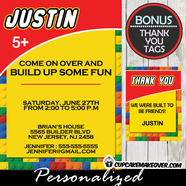 Building Blocks Birthday Invitation Personalized D1