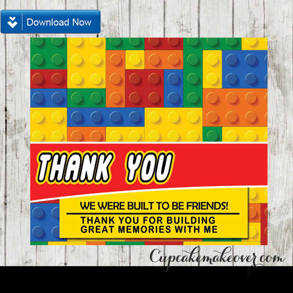 Printable Lego Party Favor Bag Toppers