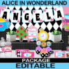 alice in wonderland tea party printable birthday set