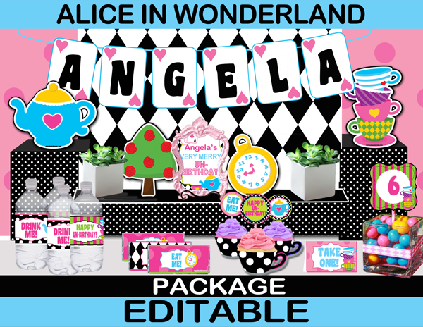alice in wonderland tea party printable birthday set