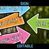 tea party arrows alice directional signs editable
