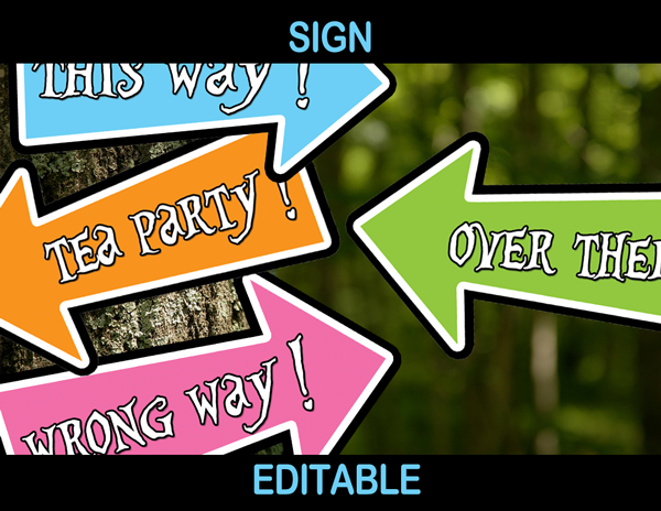 tea party arrows alice directional signs editable