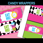 tea party candy wrappers alice in wonderland