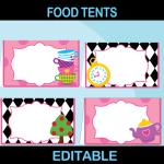 printable editable food cards alice