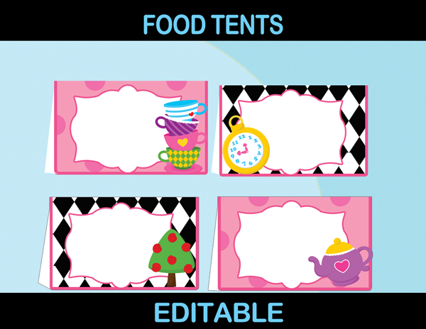 printable editable food cards alice