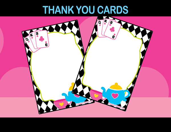tea party alice thank you notes