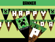 It is a picture of Influential Minecraft Birthday Banner Free Printable