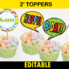 editable cute monster toppers bubbles