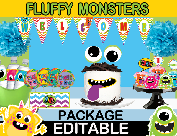76-Little Monster Birthday Package