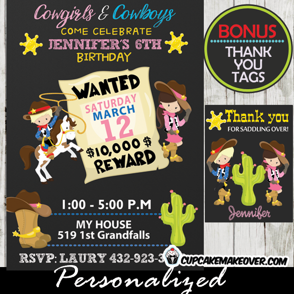 Western Birthday Invitations Cowboys Cowgirls Personalized