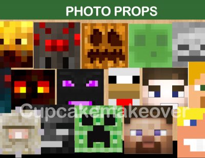 8bit minecraft party photo props for 8 bit decoration