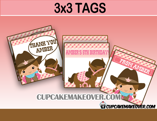 Western cowgirl editable tags