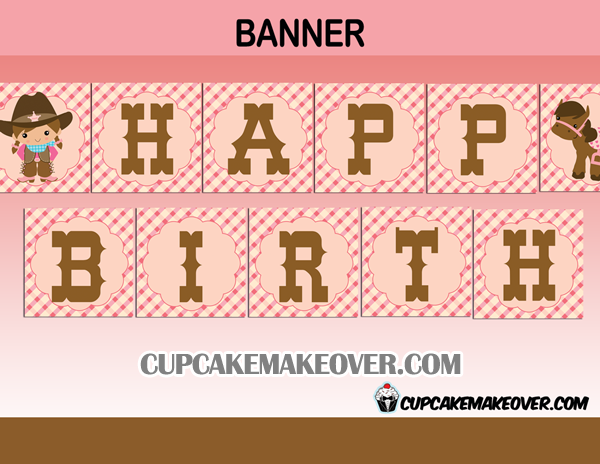 cute cowgirl western birthday banner