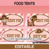 cute cowgirl editable food labels