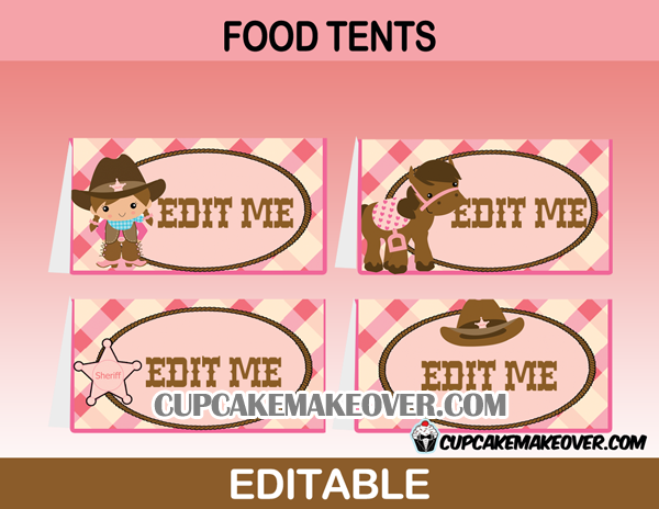cute cowgirl editable food labels