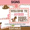 cute rodeo editable western birthday signs