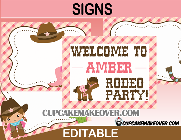 cute rodeo editable western birthday signs