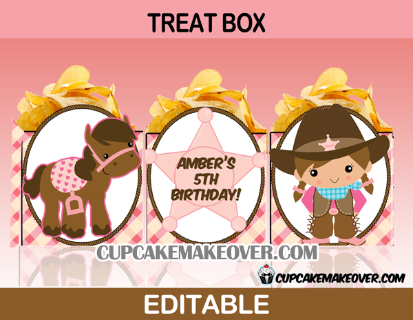 editable cute cowgirl treatbox western popcorn box