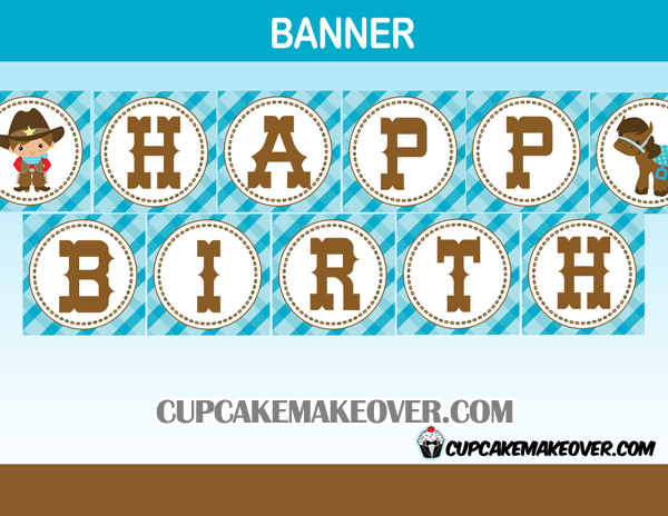cute printable cowboy western birthday banner