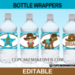 cute cowboy western bottle labels