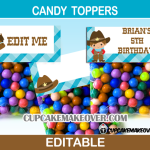 cowboy editable favor bag toppers