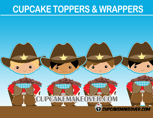fun cute cowboy cupcake toppers wrappers
